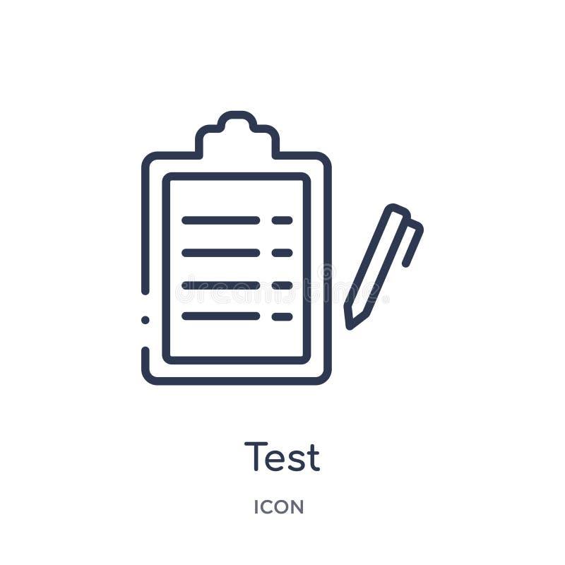 Liniowa próbna ikona od obsługa klienta konturu kolekcji Cienki linia testa wektor odizolowywający na białym tle próbny modny ilustracja wektor
