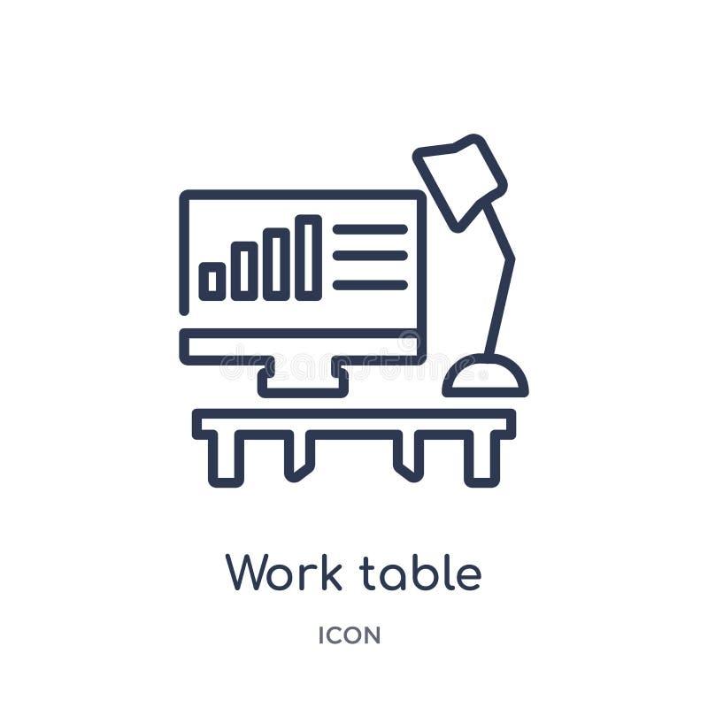 Liniowa praca stołu ikona od Biznesowej kontur kolekcji Cienieje kreskową praca stołu ikonę odizolowywającą na białym tle praca s royalty ilustracja
