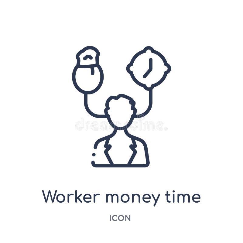 Liniowa pracownika pieniądze czasu ikona od Biznesowej kontur kolekcji Cienieje kreskowego pracownika pieniądze czasu ikonę odizo royalty ilustracja