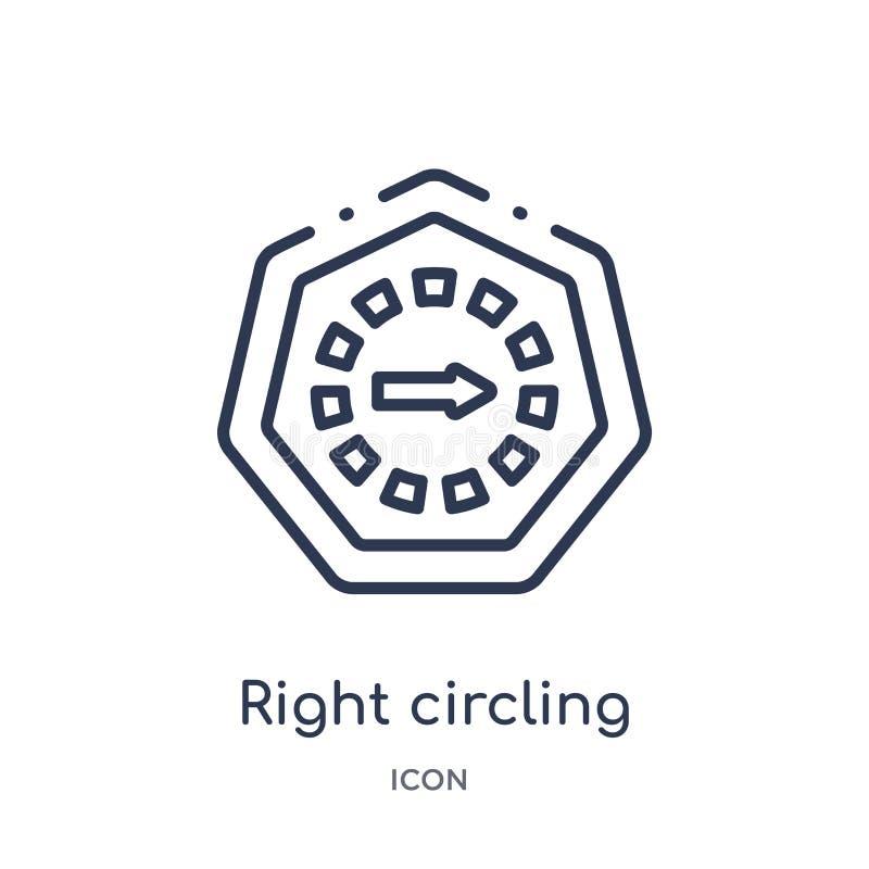 Liniowa prawa okrąża strzałkowata ikona od strzał zarysowywa kolekcję Cienkiej linii prawy okrąża strzałkowaty wektor odizolowywa royalty ilustracja