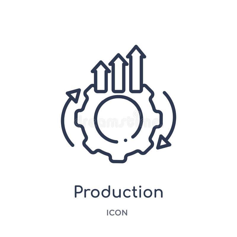 Liniowa produkcji ikona od biznesu i analityka zarysowywamy kolekcję Cienieje kreskowego produkcja wektor odizolowywającego na bi ilustracja wektor