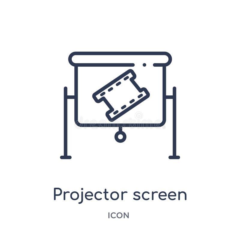Liniowa projektoru ekranu ikona od Kinowej kontur kolekcji Cienki kreskowy projektoru ekranu wektor odizolowywający na białym tle ilustracja wektor