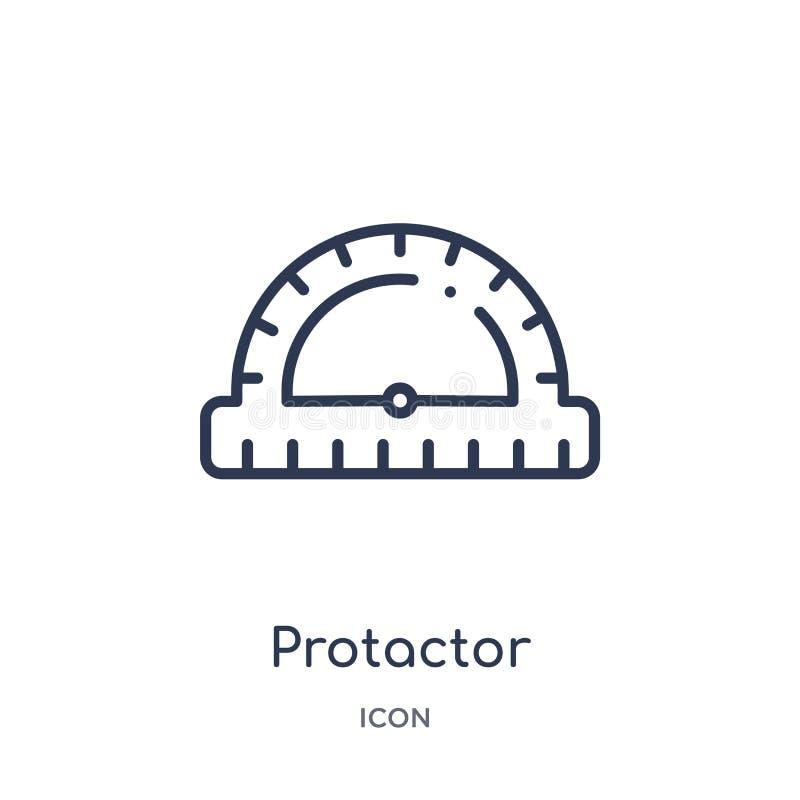 Liniowa protactor ikona od pomiaru konturu kolekcji Cienieje kreskową protactor ikonę odizolowywającą na białym tle protactor mod ilustracja wektor