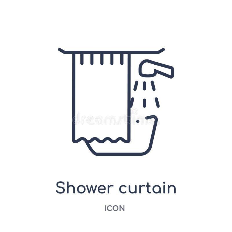 Liniowa prysznic zasłony ikona od meble i gospodarstwo domowe zarysowywamy kolekcję Cienieje kreskową prysznic zasłony ikonę odiz ilustracji