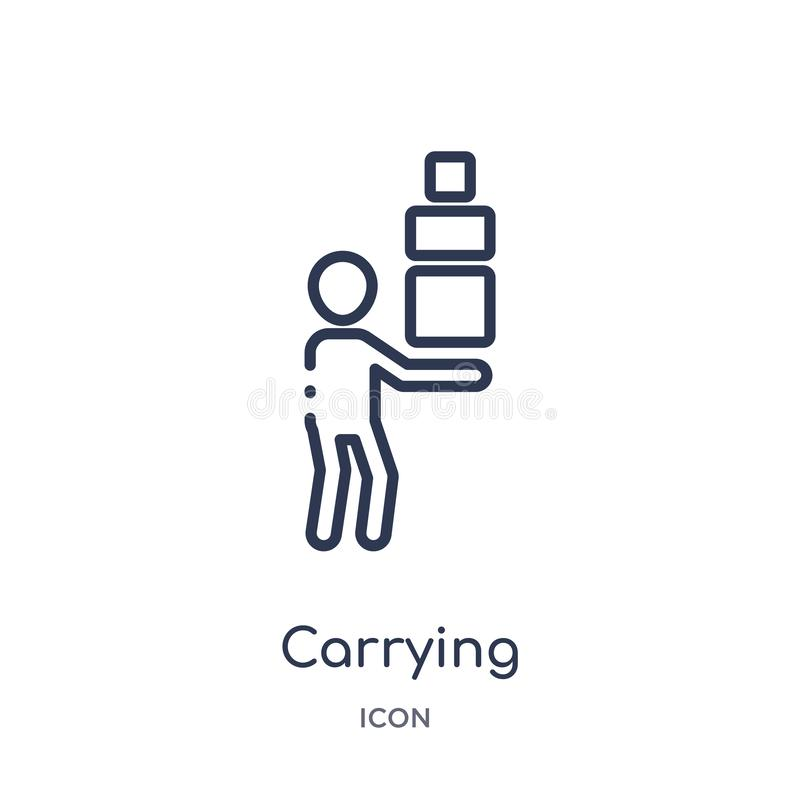 Liniowa przewożenie ikona od istota ludzka konturu kolekcji Cienieje kreskową przewożenie ikonę odizolowywającą na białym tle nie royalty ilustracja