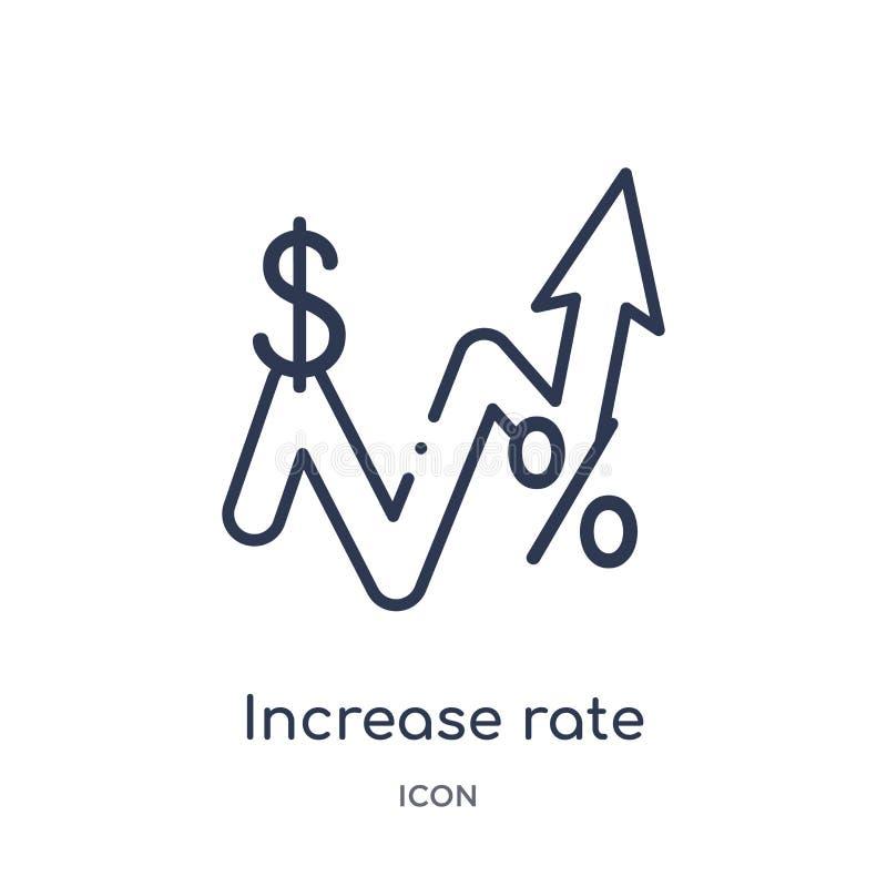 Liniowa przyrostowa tempo ikona od Biznesowej kontur kolekcji Cienka linia wzrosta tempa ikona odizolowywająca na białym tle wzro ilustracji