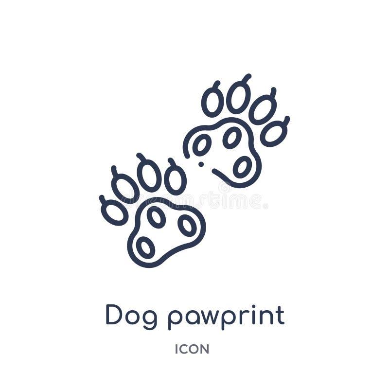 Liniowa psia pawprint ikona od dobroczynność konturu kolekcji Cienki linia psa pawprint wektor odizolowywający na białym tle psi  royalty ilustracja