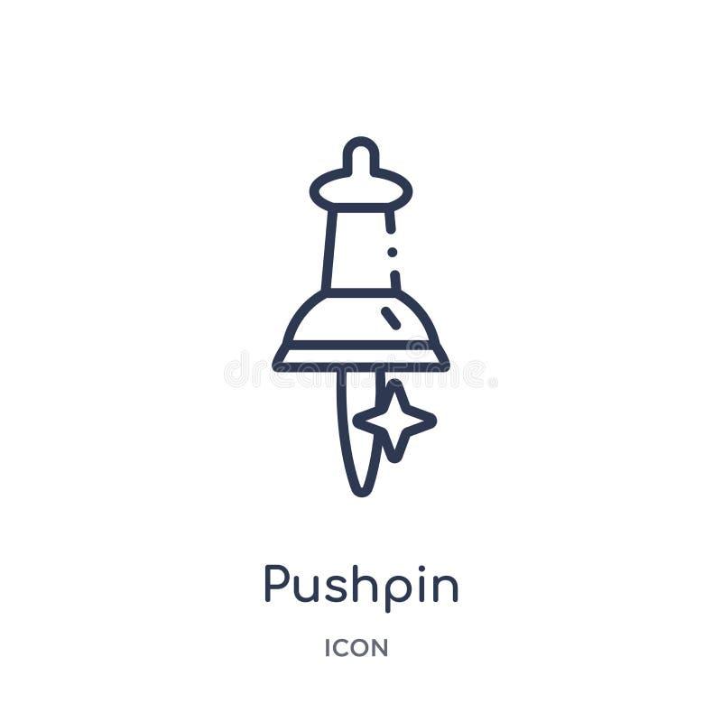 Liniowa pushpin ikona od edukacja konturu kolekcji Cienieje kreskowego pushpin wektor odizolowywającego na białym tle pushpin mod royalty ilustracja