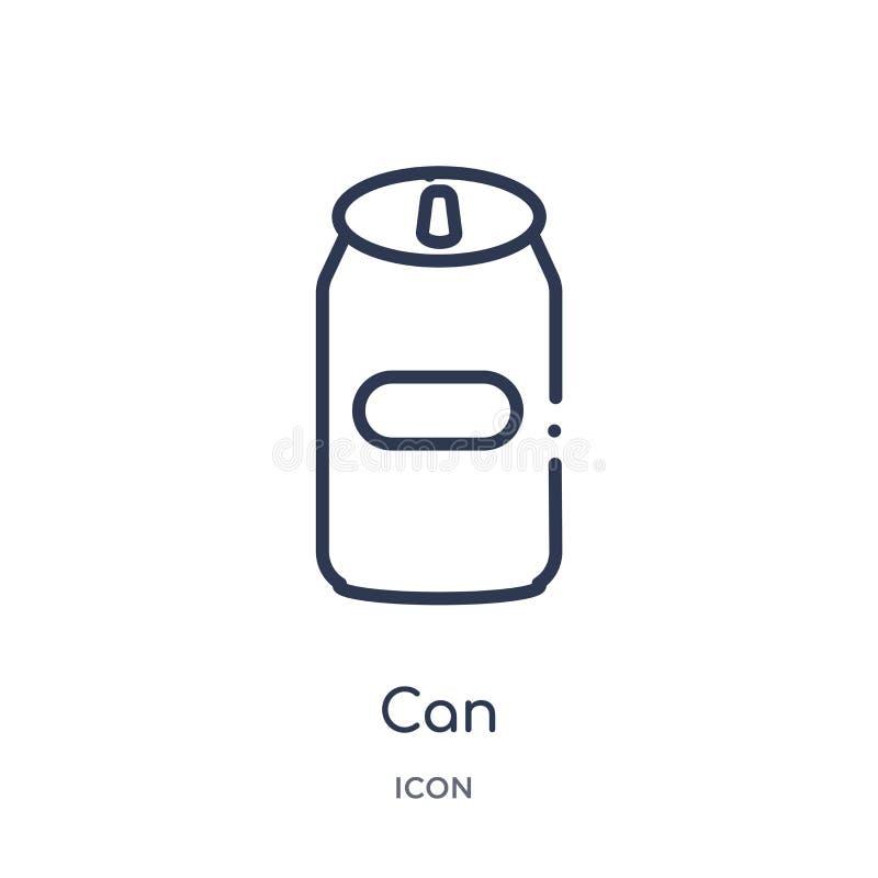 Liniowa puszki ikona od Fastfood konturu kolekcji Cienka linia może wektor odizolowywający na białym tle może modna ilustracja ilustracji