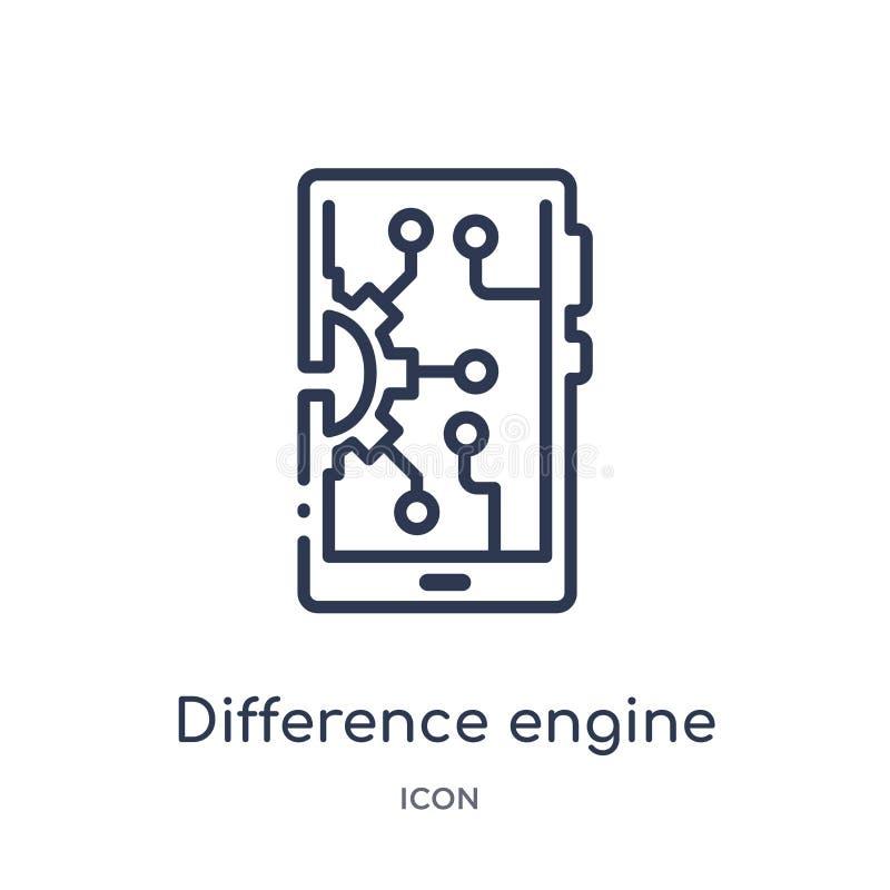 Liniowa różnica silnika ikona od Sztucznej intellegence i przyszłości technologii zarysowywa kolekcję Cienieje kreskowego różnica ilustracja wektor