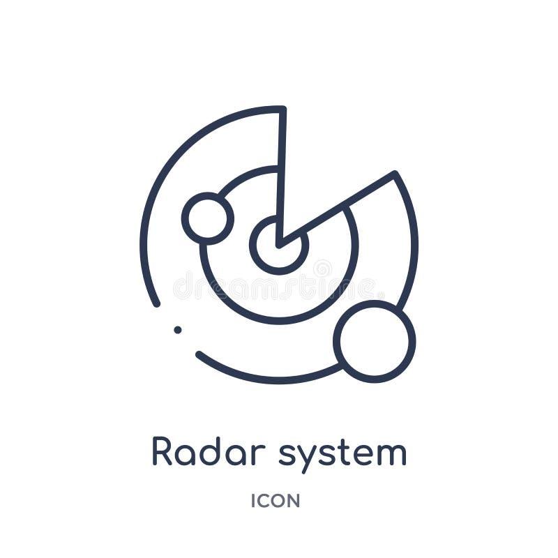 Liniowa radarowa system ikona od astronomia konturu kolekcji Cienieje kreskowego radarowego systemu wektor odizolowywającego na b ilustracji