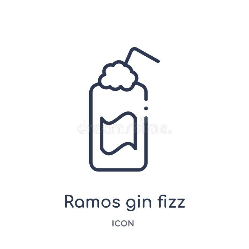 Liniowa Ramos dżinu fizz ikona od napojów zarysowywa kolekcję Cienki kreskowy Ramos dżinu fizz wektor odizolowywający na białym t ilustracja wektor