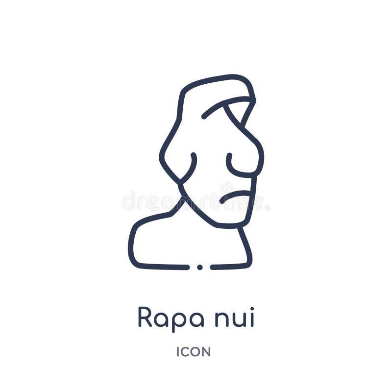 Liniowa rapa nui ikona od budynków zarysowywa kolekcję Cienieje kreskowego rapa nui wektor odizolowywającego na białym tle rapa n royalty ilustracja