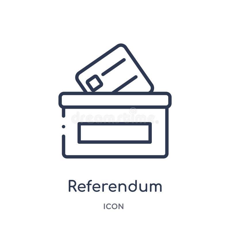 Liniowa referendum ikona od Ogólnego konturu kolekcji Cienieje kreskową referendum ikonę odizolowywającą na białym tle referendum royalty ilustracja