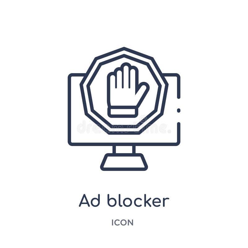 Liniowa reklama blokeru ikona od marketingu konturu kolekcji Cienieje kreskową reklama blokeru ikonę odizolowywającą na białym tl royalty ilustracja