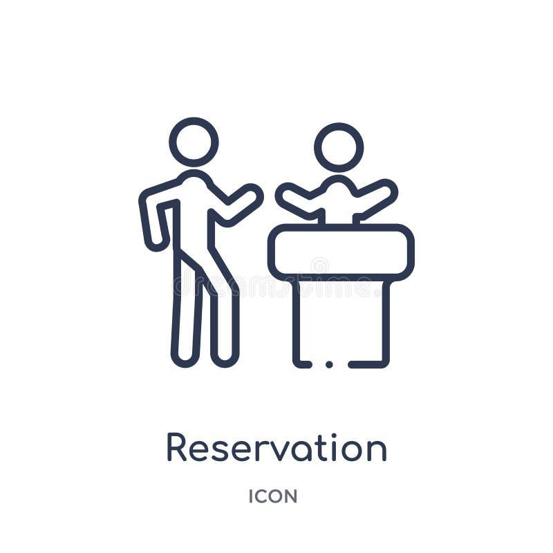 Liniowa rezerwacji ikona od hotelu i restauracyjnej kontur kolekcji Cienieje kreskową rezerwacji ikonę odizolowywającą na białym  ilustracji