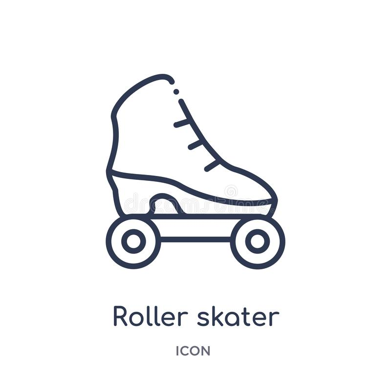 Liniowa rolkowa łyżwiarki ikona od moda konturu kolekcji Cienieje kreskową rolkową łyżwiarki ikonę odizolowywającą na białym tle  ilustracji