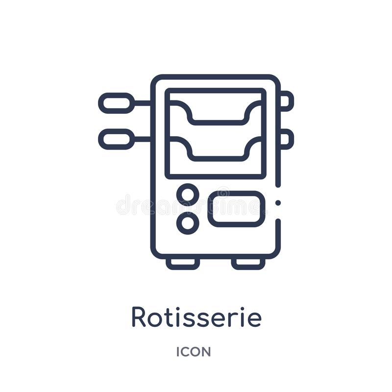 Liniowa rotisserie ikona od urządzenie elektroniczne konturu kolekcji Cienieje kreskowego rotisserie wektor odizolowywającego na  royalty ilustracja