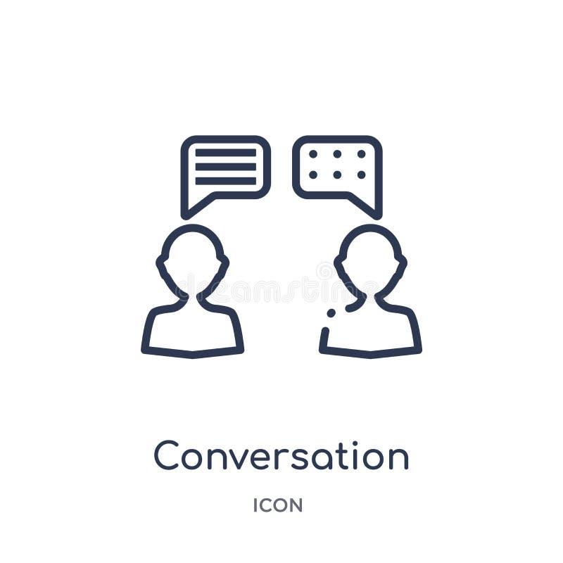 Liniowa rozmowy ikona od Blogger i influencer zarysowywamy kolekcję Cienieje kreskowego rozmowa wektor odizolowywającego na bielu royalty ilustracja