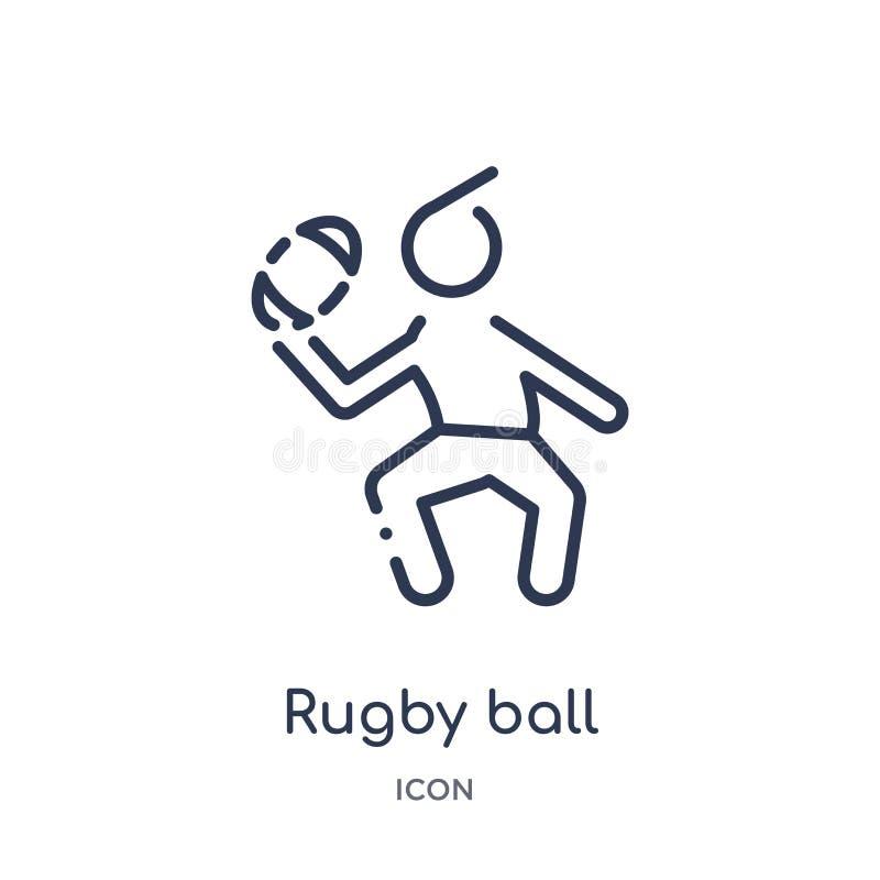 Liniowa rugby piłki ikona od czasu wolnego konturu kolekcji Cienieje kreskowego rugby piłki wektor odizolowywającego na białym tl royalty ilustracja