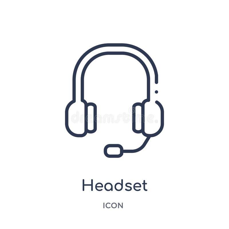 Liniowa słuchawki ikona od obsługa klienta konturu kolekcji Cienieje kreskowego słuchawki wektor odizolowywającego na białym tle  royalty ilustracja