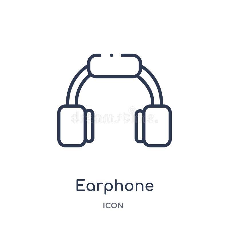 Liniowa słuchawki ikona od urządzenie elektroniczne konturu kolekcji Cienieje kreskowego słuchawka wektor odizolowywającego na bi royalty ilustracja