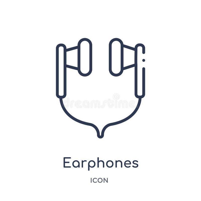Liniowa słuchawki ikona od urządzenie elektroniczne konturu kolekcji Cienieje kreskowego słuchawka wektor odizolowywającego na bi ilustracji