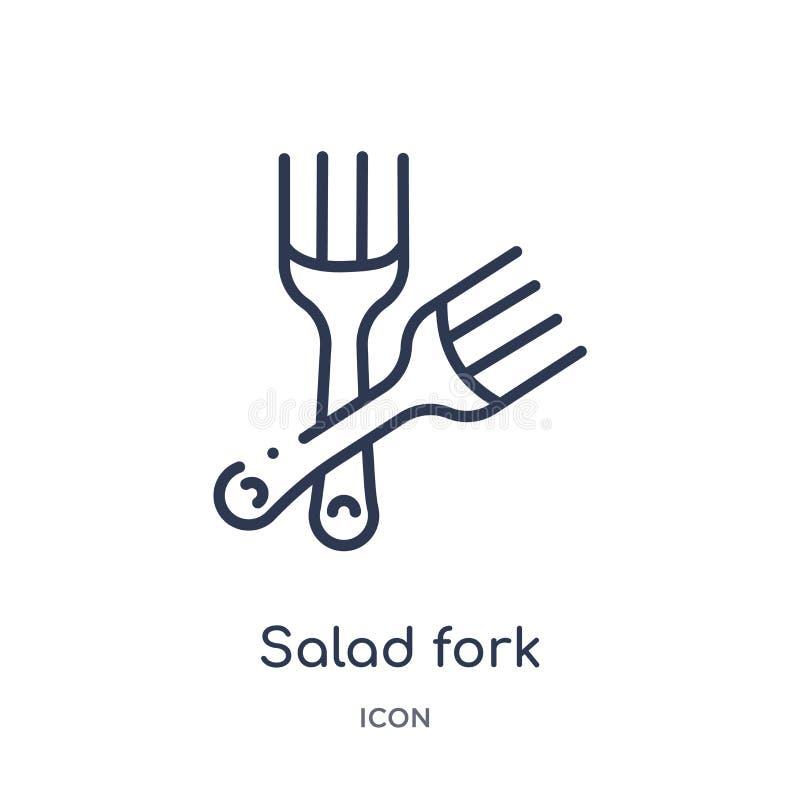 Liniowa sałatkowego rozwidlenia ikona od bistr i restauracyjnej kontur kolekcji Cienieje kreskowego sałatkowego rozwidlenia wekto ilustracja wektor