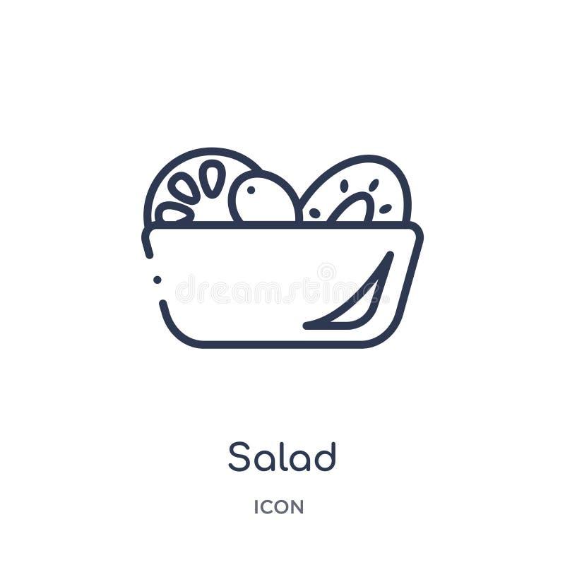 Liniowa sałatkowa ikona od owoc konturu kolekcji Cienieje kreskową sałatkową ikonę odizolowywającą na białym tle sałatkowa modna  ilustracji
