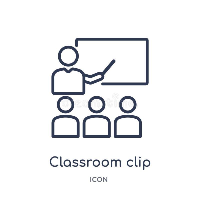Liniowa sali lekcyjnej klamerki ikona od Ogólnego konturu kolekcji Cienka kreskowa sali lekcyjnej klamerki ikona odizolowywająca  ilustracji