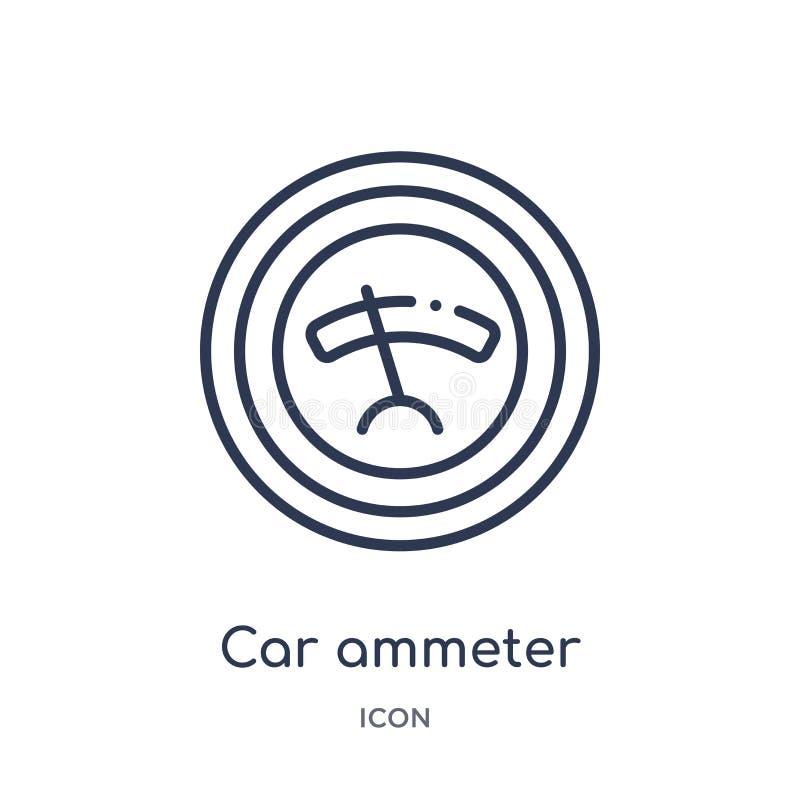 Liniowa samochodowa amperomierz ikona od Samochodowych części zarysowywa kolekcję Cienieje kreskowego samochodowego amperomierza  ilustracji