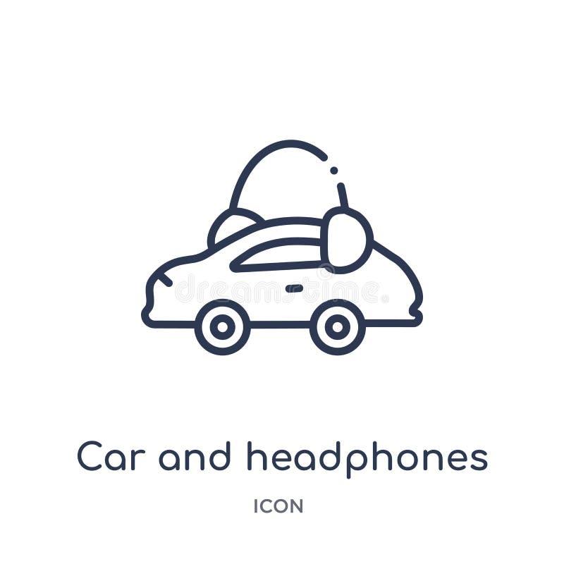 Liniowa samochodu i hełmofonów ikona od Mechanicons zarysowywa kolekcję Cienieje kreskową samochodu i hełmofonów ikonę odizolowyw ilustracja wektor