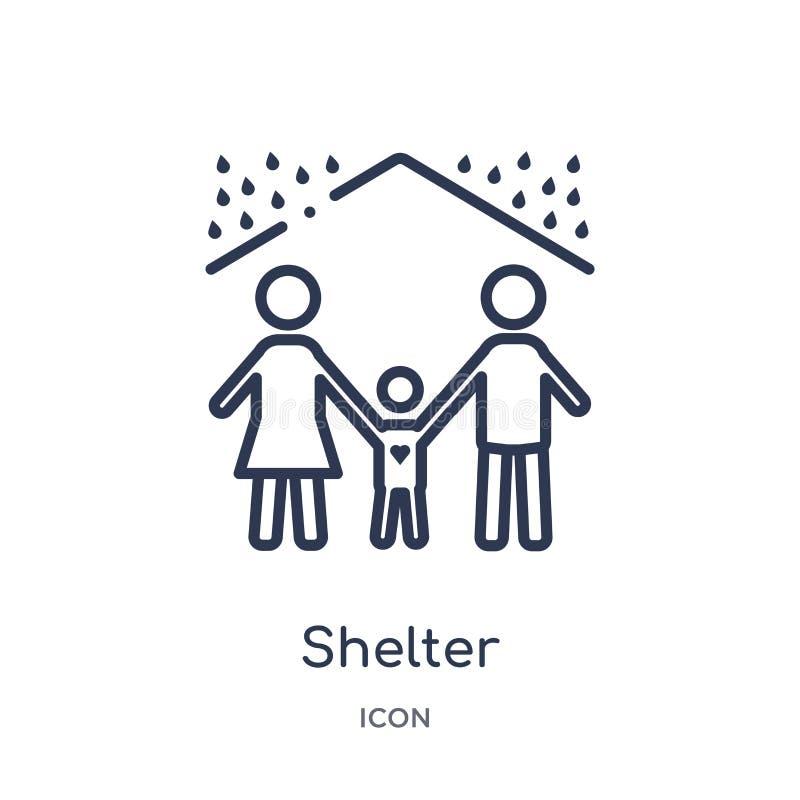 Liniowa schroniskowa ikona od dobroczynność konturu kolekcji Cienki linii schronienia wektor odizolowywający na białym tle schron ilustracji