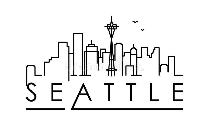 Liniowa Seattle miasta sylwetka z Typograficznym projektem royalty ilustracja