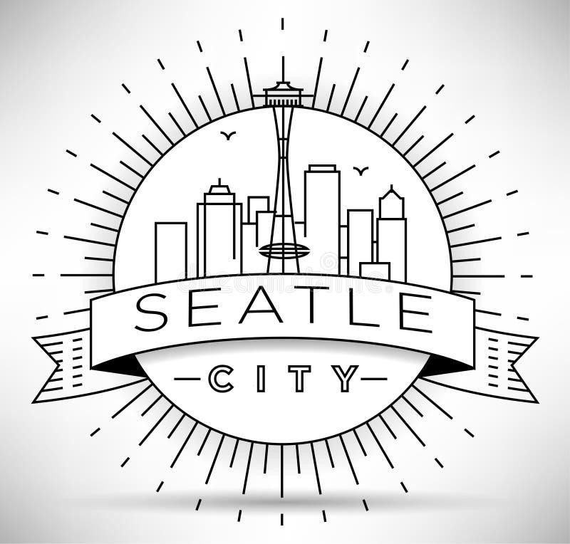 Liniowa Seattle miasta sylwetka z Typograficznym projektem ilustracja wektor