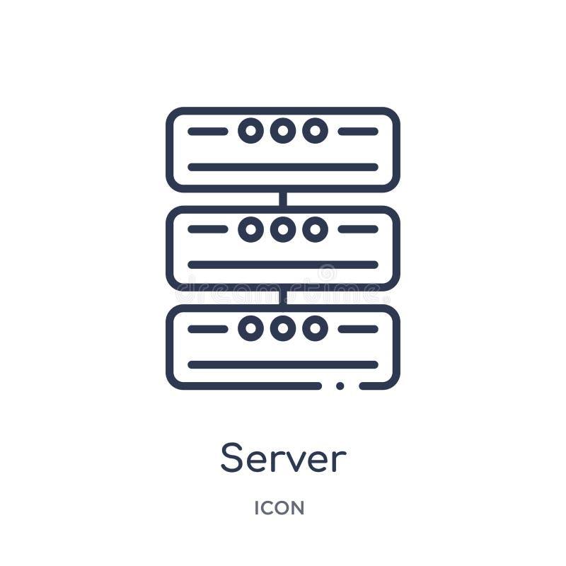 Liniowa serwer ikona od urządzenie elektroniczne konturu kolekcji Cienieje kreskowego serweru wektor odizolowywającego na białym  ilustracja wektor