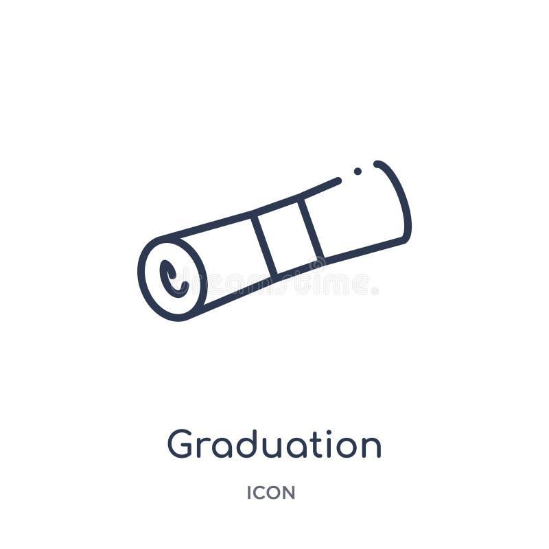 Liniowa skalowanie ikona od edukacja konturu kolekcji Cienieje kreskowego skalowanie wektor odizolowywającego na białym tle ukońc royalty ilustracja