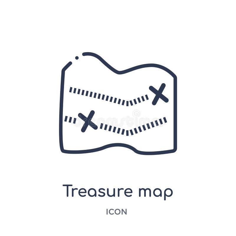 Liniowa skarb mapa z ikoną od map i flagi x zarysowywamy kolekcję Cienka kreskowa skarb mapa z ikoną odizolowywającą na bielu x ilustracja wektor