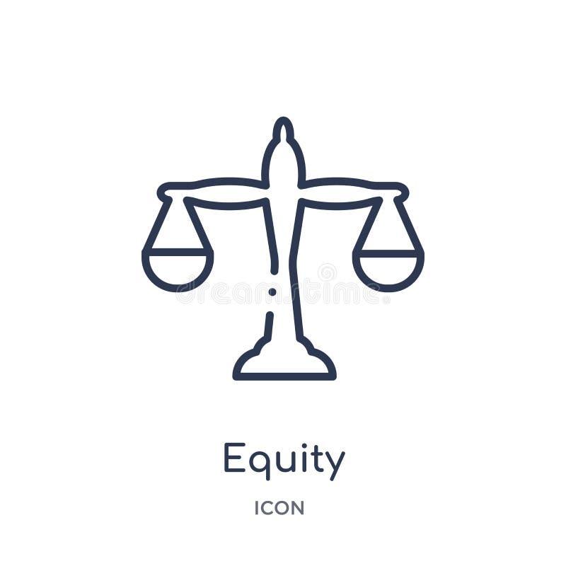 Liniowa sprawiedliwości ikona od Crowdfunding konturu kolekcji Cienieje kreskowego sprawiedliwość wektor odizolowywającego na bia ilustracja wektor