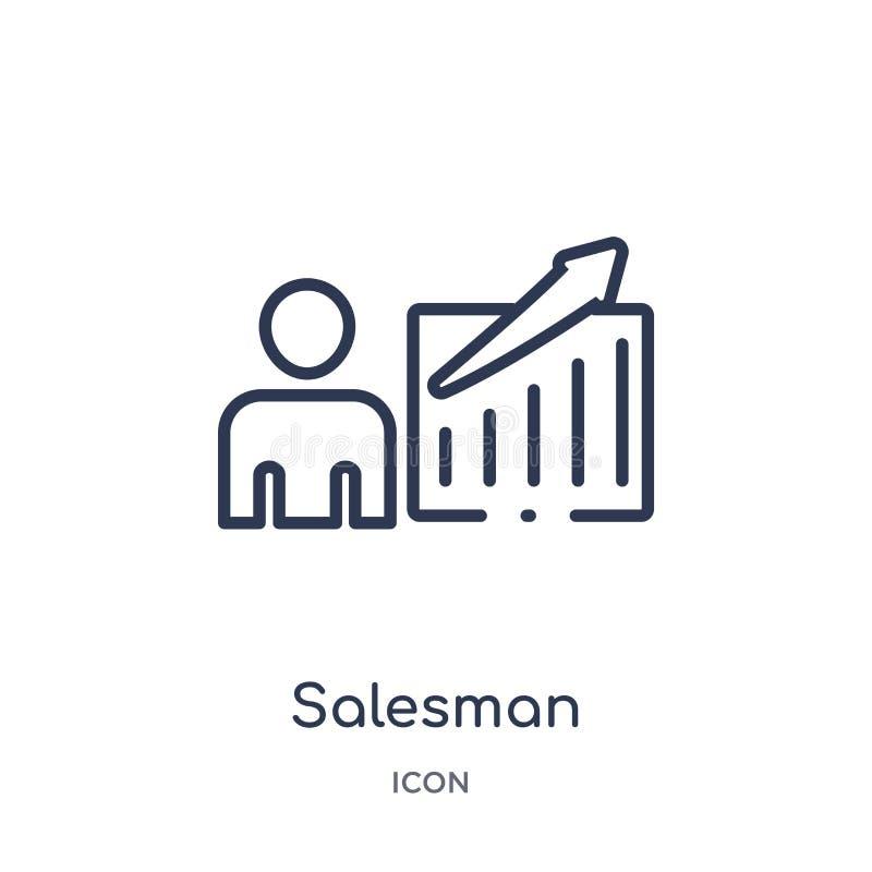 Liniowa sprzedawca ikona od marketingu konturu kolekcji Cienieje kreskową sprzedawca ikonę odizolowywającą na białym tle sprzedaw royalty ilustracja