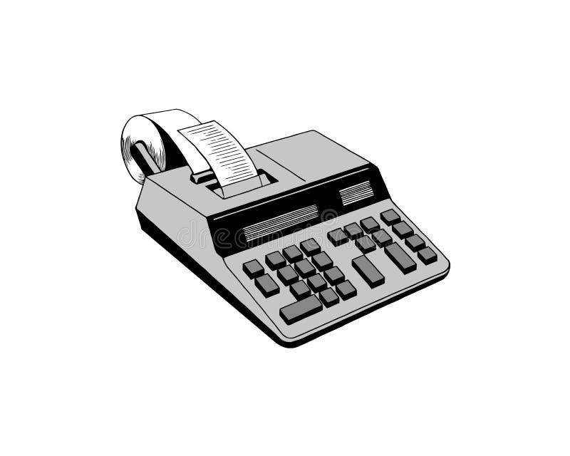 Liniowa stara kalkulator ikona od pomiaru konturu kolekcji Cienieje kreskow? star? kalkulator ikon? odizolowywaj?c? na bia?ym tle ilustracja wektor