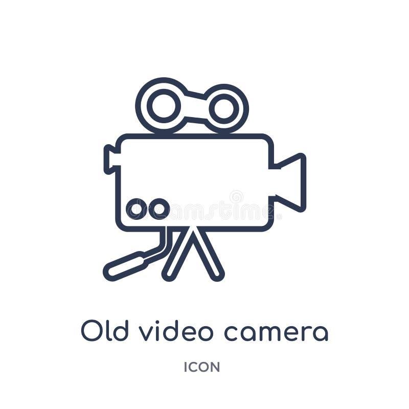 Liniowa stara kamera wideo ikona od Elektronicznej materiał pełni konturu kolekcji Cienieje kreskowego starego kamera wideo wekto ilustracji