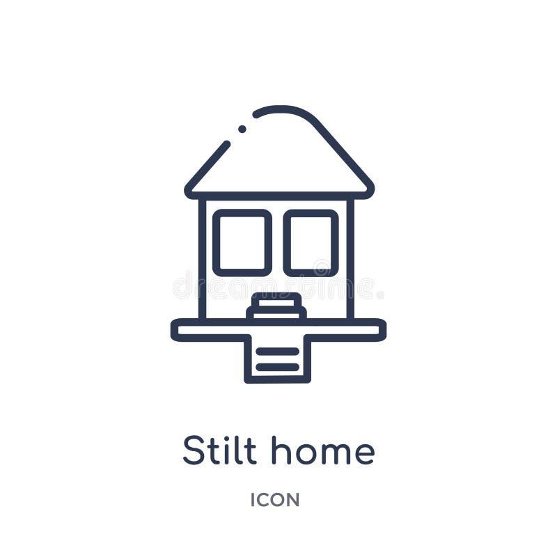Liniowa stilt domu ikona od budynków zarysowywa kolekcję Cienka kreskowa stilt domu ikona odizolowywająca na białym tle stilt dom ilustracja wektor
