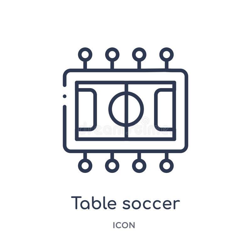 Liniowa stołowa piłki nożnej ikona od rozrywka konturu kolekcji Cienka linia stołu piłki nożnej ikona odizolowywająca na białym t ilustracji
