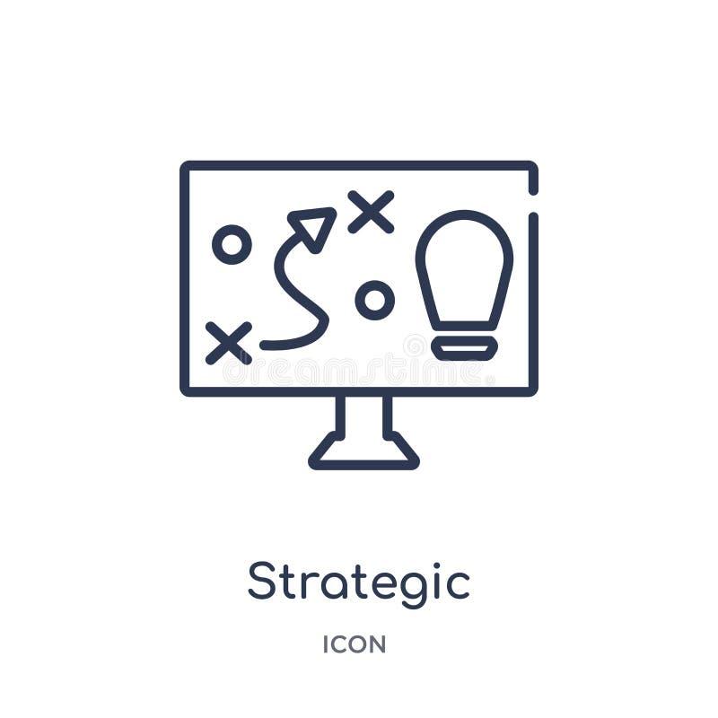 Liniowa strategiczna ikona od Biznesowej kontur kolekcji Cienieje kreskową strategiczną ikonę odizolowywającą na białym tle strat ilustracji