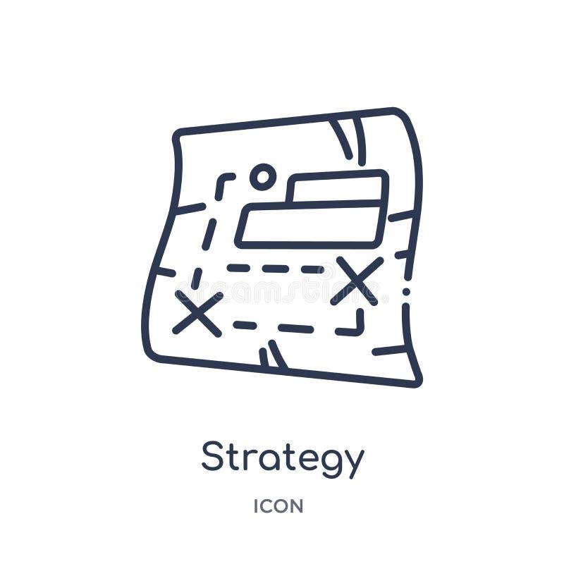 Liniowa strategii ikona od wojska i wojennej kontur kolekcji Cienieje kreskowego strategia wektor odizolowywającego na białym tle ilustracji