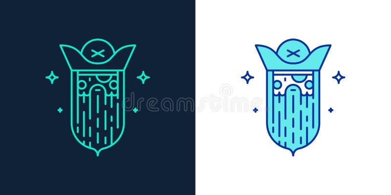 Liniowa stylowa ikona pirata wektor royalty ilustracja