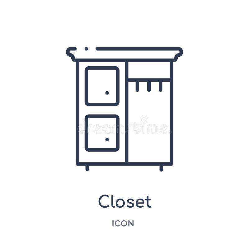 Liniowa szafy ikona od Meblarskiej kontur kolekcji Cienieje kreskową szafy ikonę odizolowywającą na białym tle szafa modna ilustracja wektor