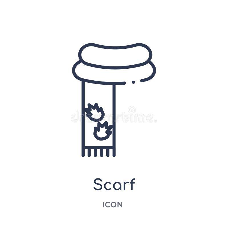 Liniowa szalik ikona od jesień konturu kolekcji Cienieje kreskowego szalika wektor odizolowywającego na białym tle szalik modna i ilustracja wektor