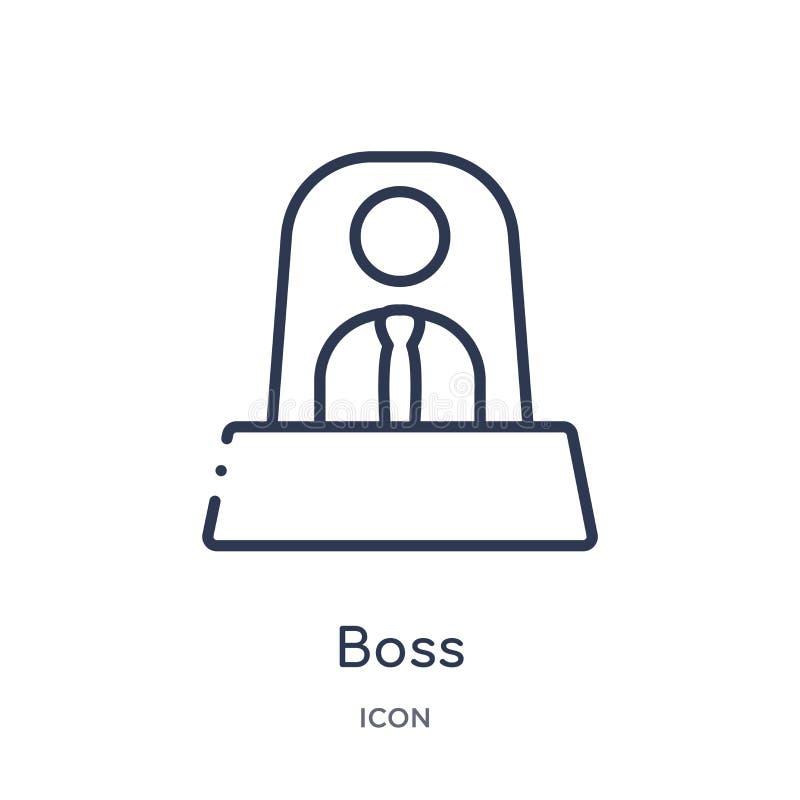 Liniowa szef ikona od Akcydensowej życiorysu konturu kolekcji Cienka kreskowa szef ikona odizolowywająca na białym tle szef modna ilustracji
